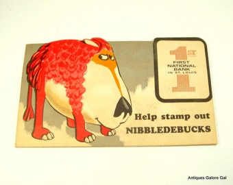 Nibbledebucks Coin Saver Folder, Dime Bank, Help Stamp Out Nibbledebucks, Advertisement First National Bank, St. Louis  (256-15)