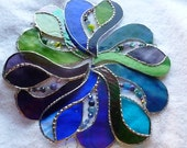 I can see for miles and miles  Beaded Stained Glass Heart, Tantiizing Teal, passion purple, crystals and jewels