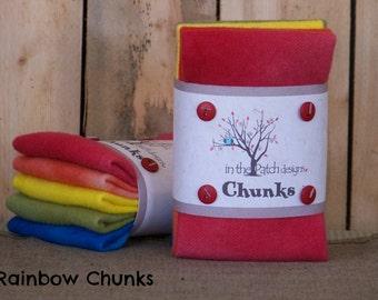 Hand Dyed Wool Chunks: 100% wool #Rainbow