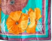 Luxurious vintage 70s multicolor silk scarf with  large poppies watercolor print. Made by Vera. Mint condition.