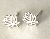Lotus Earrings, Lotus Flower Earrings, Sterling Silver Yoga Jewelry, Lotus Post Earrings, Gift for Yoga Lover, Studs, Stud Earrings