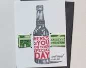 Here's to you on your special day! Next Round's on me - letterpress money card