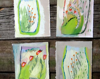 Mini Spring Terrariums, Original set of four paintings, oil on canson paper