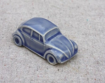 Volkswagen Beetle VW Bug Figurine in Stoneware with Blue Ink Glaze