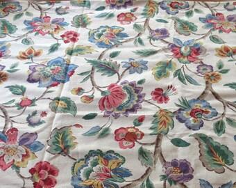 P. Kaufmann Jacobean Floral Fabric - Berry, Tan, Green, Blue - Drapery, Pillows, Cushions - 3+ Yards