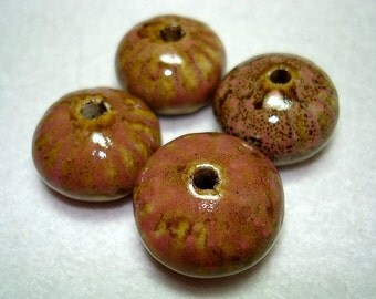 Mauve and Tan Large Porcelain Saucer Beads (Qty 4) - B2652