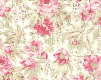 Quilting Cotton fabric   3 Sisters Favorite   China White Pink Roses 3768 11