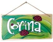 Custom Name Sign - Girl - Ladybugs