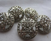 Vintage Buttons - 5 large matching hammered and pierced silver metal, (dec516)
