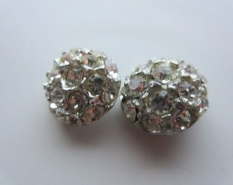 Vintage Button - 2 beautiful matching domed design, rhinestone embellished, silver antique finish metal, very old  (5540)
