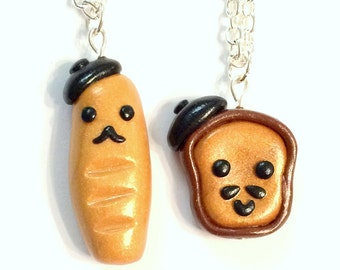 Best Friend French Bread and French Toast Friendship Necklaces Miniature Food Jewelry