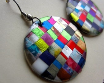 Round Quilt Mosaic Earrings