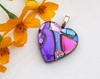 Fused dichroic glass heart pendant, purple, pink