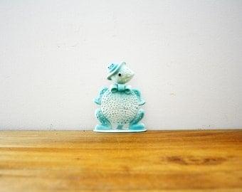 vintage 60s Anthropomorphic Mr. Turtle Bow Tie Blue Metal Revere Earring Tree