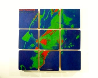 PAT TRAVERS recycled Radio Active album cover coasters and record bowl