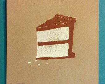 "Piece of Cake ""Yellow & Chocolate"" lino cut 8""x8"" print."