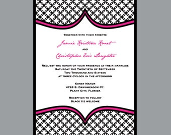 MOD Wedding Invitations - Vintage Antique MOD Circle Patterned Wedding Invitations