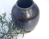 Small Blue and Black Ceramic Vase