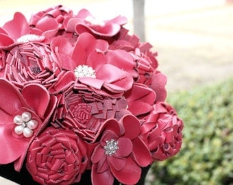 18 Stem Real Leather  Bridal Bouquet with Leaves