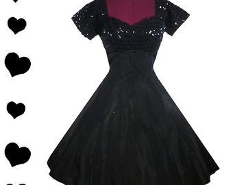 Dress Vintage 50s Black SEQUIN Taffeta Full Skirt Party PROM Dress S Rockabilly Pinup