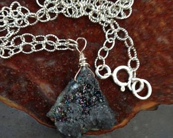 Black  Quartz  Drusy Nugget Necklace   Midnight   Boho Jewelry  Gift for her  Black Crystl Druzy  Minimalist necklace