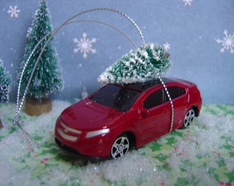 2011 Chevy Volt with Christmas tree ornament