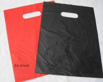 50 Black Plastic Bags, Red Plastic Bags, Glossy Bags, Shopping Bags, Merchandise Bags, Retail Bags, Plastic Gift Bag, Bags with Handles 9x12