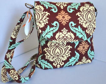 Crossbody Body Bag with Adjustable Strap in Brown Aqua Tan Damask