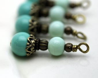 Vintage Style Turquoise Glass Bead Earring Dangle with Brass Bead Dangle Pendant Charm Drop Set