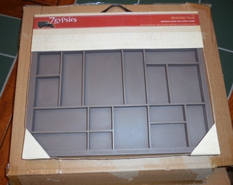 7 Gypsies, Wooden Printer Tray, Letterblock, Brown with silver handle