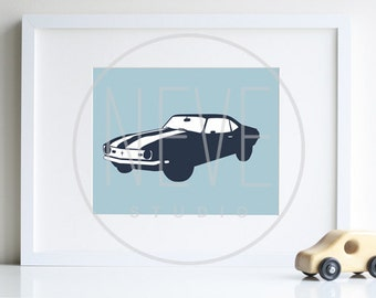 Vintage Car Art, Chevy CAMARO  8 x 10 print - available in different sizes and colors