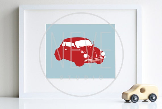 Transportation art, kids car art 8 x 10 modern art print - different colors and sizes available