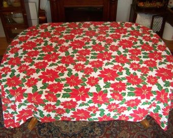 CHRISTMAS  Tablecloth gold lined poinsettas cotton cloth 64X84""