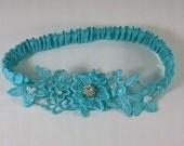 Aqua Blue Lace Wedding Garter A047 - lace bridal garter accessory