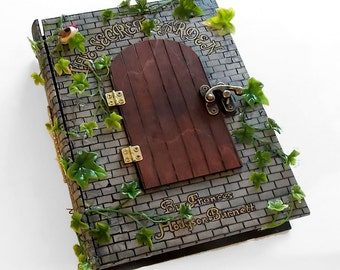 Secret safe box, hollow book - The Secret Garden book hideaway box/sculpture. Hidden compartment.