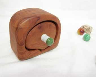 Small California Redwood Drawer, green & white lampwork glass, engagement ring box, wood jewelry box, ring bearer box, earring box, eco gift