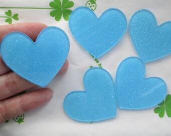 Glitter heart acrylic cabochons 4pcs 45mm x 42mm Blue new item