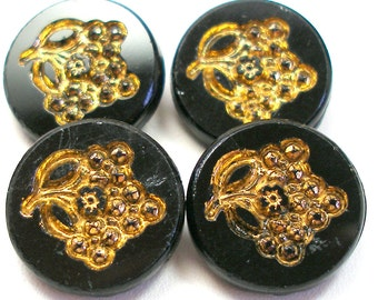 4 Antique GLASS buttons, Victorian grapes on black glass with gold luster.