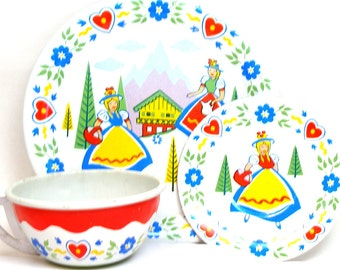 Swiss Miss Tin Toy Tea Setting, Alpine Maids in red, blue & yellow.