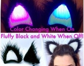 Fluffy Black Color CHANGING Glowing LED Clip On Cat Ears. Custom Designed GeekStar Rave Costume Accessory. Ravewear EDC Burningman Outfit.