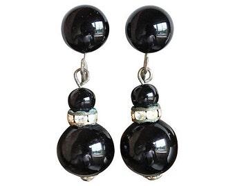 Art Deco Black Glass & Rhinestone Earrings