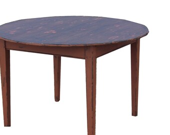 "Reproduction primitive painted Early American 48"" round Pine farm table for a country farmhouse"