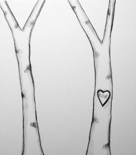"Custom Listing/Tori. Original Illustration - ""love"" carved Birch Trees"