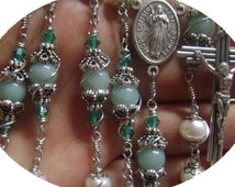 catholic Handmade  Rosary necklace Wire Wrapped Beads real Pearl & Amazonite Special flower mate Rosary  Cross