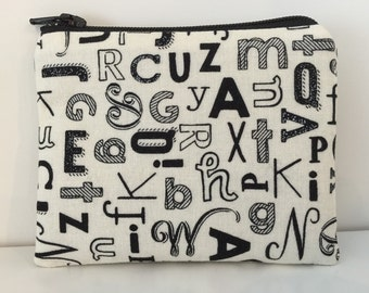 Alphabets Coin Purse - Cotton Change Purse - Small Zipper Pouch