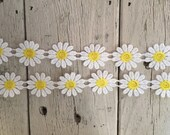 Daisy Trim WHITE AND YELLOW 1 inch Daisies -2 yards