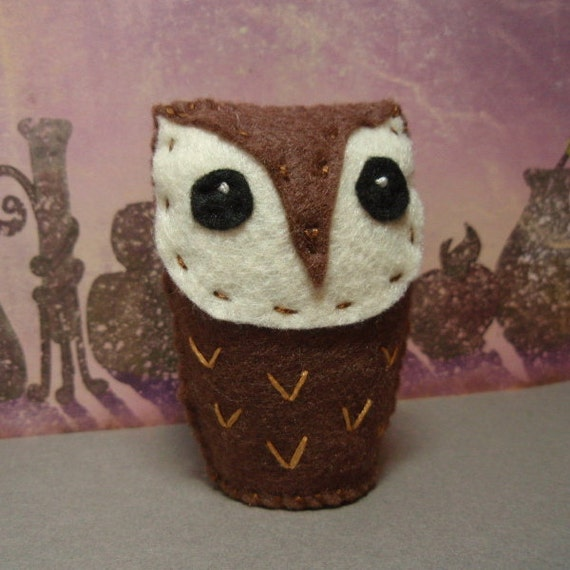 Wee Brown Owlie - Brown Felt Mini Owl Soft Sculpture