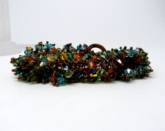 Wide Garland Style Hand linked Copper Bracelet with Swarovski Crystal Elements for Smaller Wrist