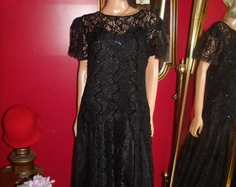 Great Gatsby Vintage Black  Dress Flapper  Tea Party Size 14