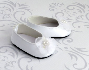 White Satin Ballet Flats with Beaded Organza Flower - American Girl Doll Shoes, 18 inch doll clothes